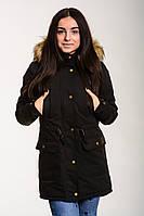 Парка зимняя женская Node City теплая молодежная качественная стильная черная с капюшоном, ОРИГИНАЛ