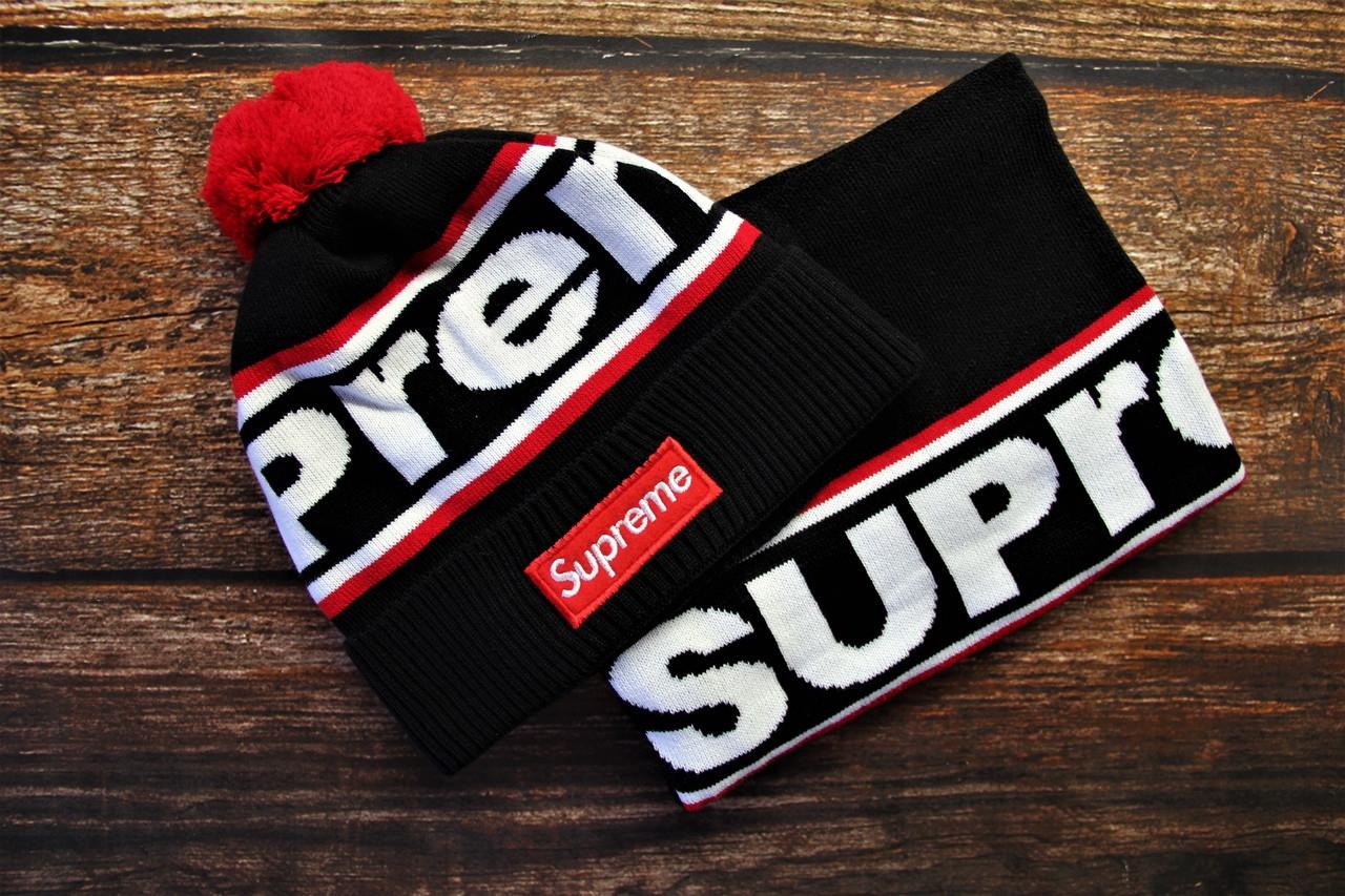 Зимняя мужская шапка + бафф Supreme. ТОП качество!!! Реплика