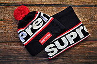 Зимняя шапка + бафф Supreme. ТОП качество!!! Реплика