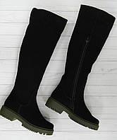 Cапоги замшевые женские демисезонные с подошвой цвета хаки BOGUN, фото 1