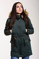 Парка зимняя женская Node City теплая молодежная с капюшоном и мехом (зеленая), ОРИГИНАЛ