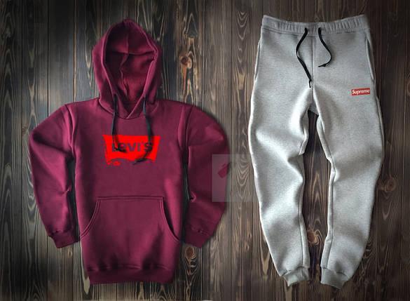 Костюм спортивный с капюшоном Levi's x Supreme бордово-серый топ реплика, фото 2
