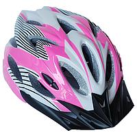 Велосипедный шлем универсальный со съемным козырьком SmartWorld FT-09-8 56-62 см Розовый 80840243, КОД: 212428