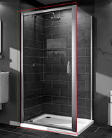 Huppe X1 дверь распашная для ниши и боковой стенки  90*190см (проф гл хром, стекло прозр)