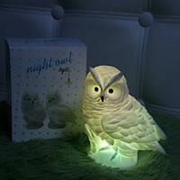 Ночник на батарейках, Сова, Меняет цвета, Ночник оригинальный подарок, Ночные светильники для спальни