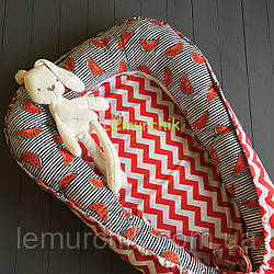 Гнездо-кокон для новорожденного 85Х40 см (подушка для беременной, подушка для кормления) Арбузики