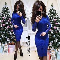 Платье, набивной гипюр+подкладка, на спине змейка.  Размер:С,М,Л. Цвета разные (5333)