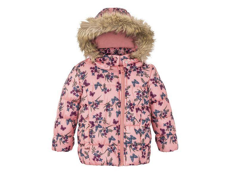 Куртка для девочки Lupilu розовая в цветочки и бабочки р.110
