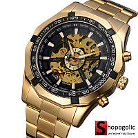 Мужские Наручные Механические Часы Скелетон с Автоподзаводом Золото