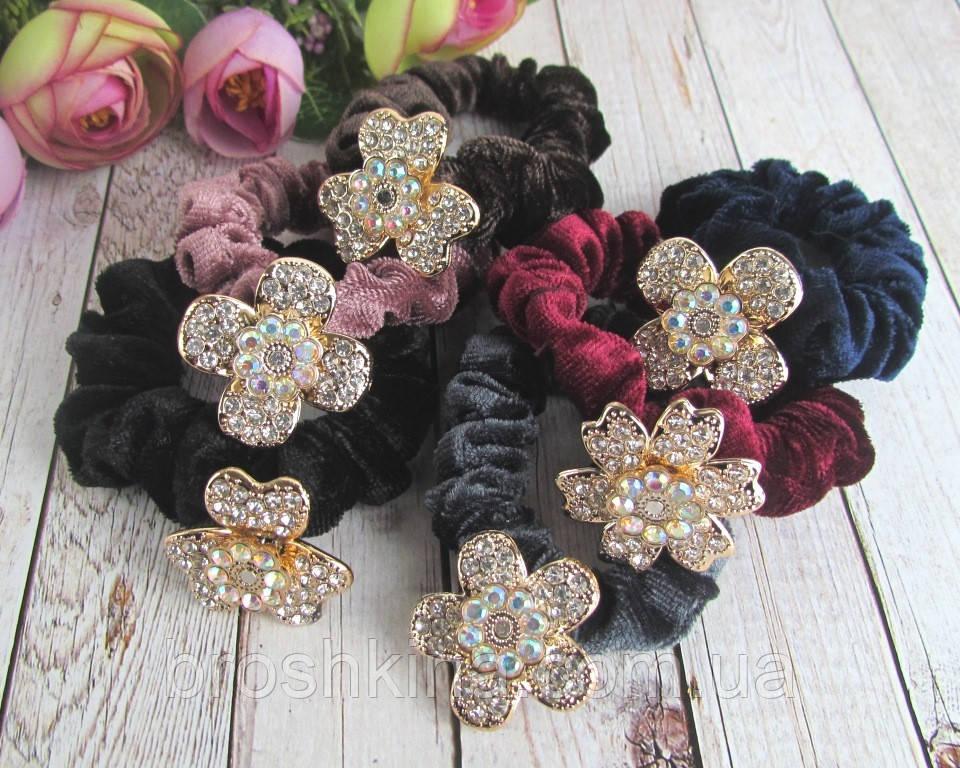 Бархатные резинки для волос с цветами в стразах 12 шт/уп
