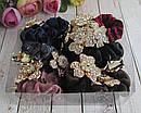 Бархатные резинки для волос с цветами в стразах 12 шт/уп, фото 3