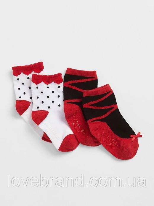 Носочки для девочки красные GAP, 2 пары в наборе 0-6 мес