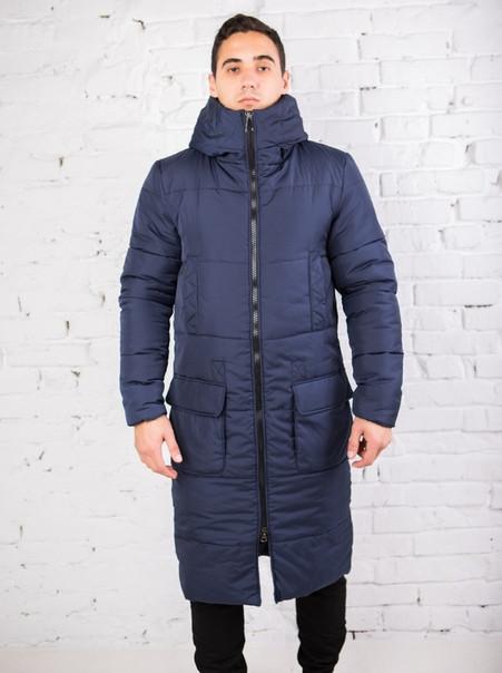 """Куртка чоловіча Pobedov """"Tank"""" зимова стильна молодіжна довга з великими кишенями (синя), ОРИГІНАЛ"""