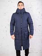 """Куртка чоловіча Pobedov """"Tank"""" зимова стильна молодіжна довга з великими кишенями (синя), ОРИГІНАЛ, фото 1"""