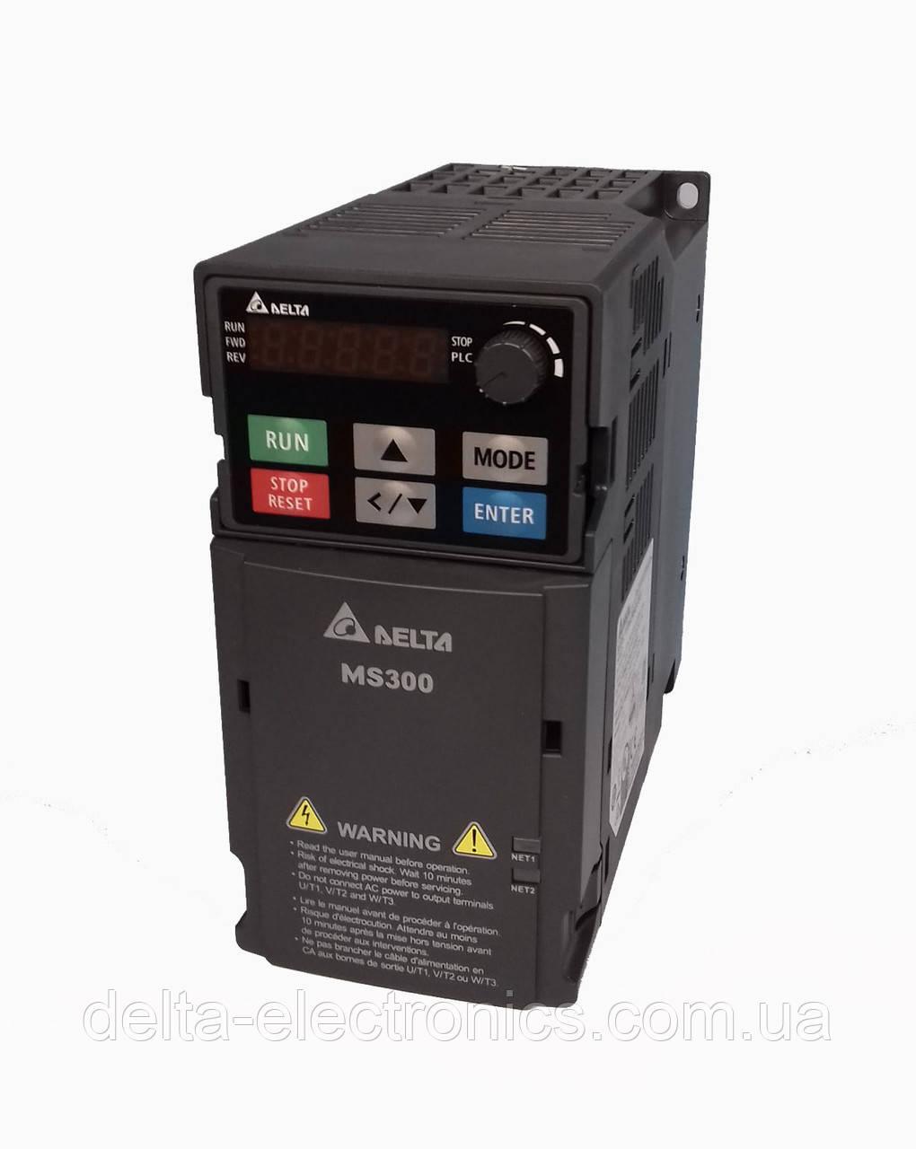 Преобразователь частоты MS300, 3x380В, 4 кВт, 9/10,5А, ЭМС С2 фильтр, векторный, c ПЛК, VFD9A0MS43AFSAA