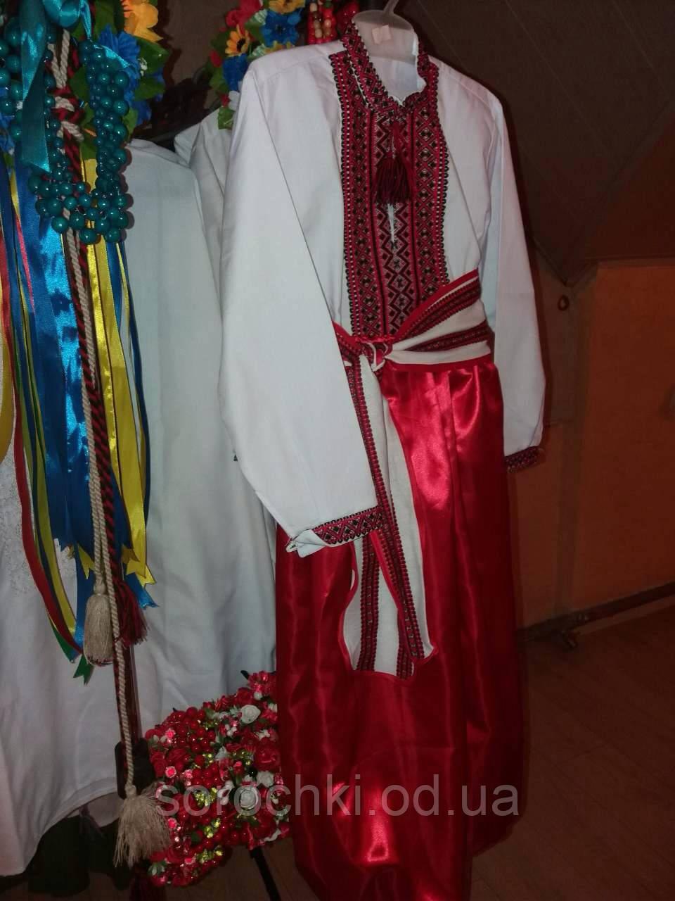 Украинский костюм детский для мальчика , сорочка белая-поплин, шаровары-шелк, продажа-прокат