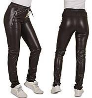 Кожаные штаны женские на меху, теплые брюки женские, коричневые