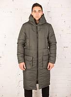 """Куртка мужская Pobedov """"Tank""""  на зиму теплая стильная длинная с карманами и капюшоном (оливковые), ОРИГИНАЛ"""