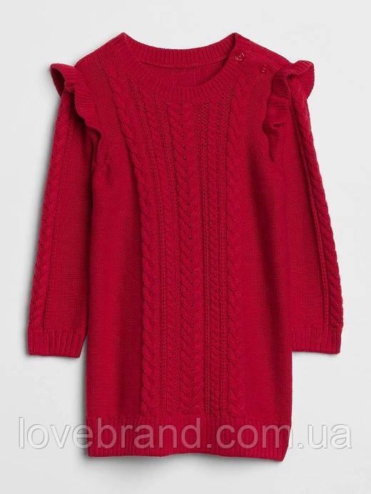 Красное вязанное платье для девочки GAP
