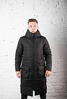 """Куртка мужская Pobedov """"Tank"""" теплая на зиму с капюшоном стильная длинная с карманами в черном цвете, ОРИГИНАЛ"""