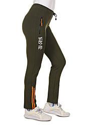 Батальные спортивные лосины больших размеров женские, штаны трикотажные (батал), хаки