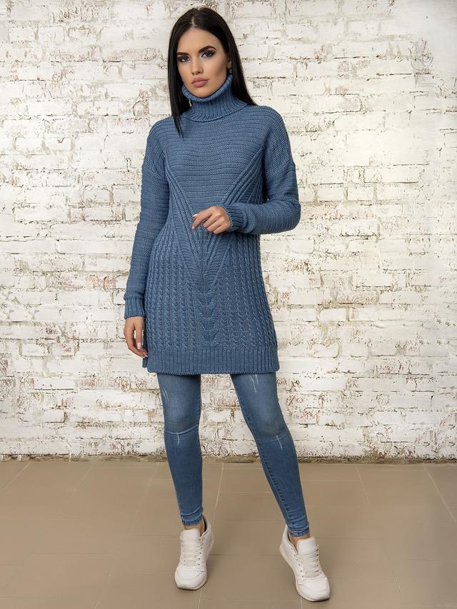 Цвет джинс Вязаных платьев туник Ванда