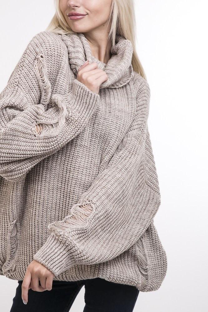 7d1dfe9352e9 Вязаный женский свитер с широким хомутом бежевый: продажа, цена в Киеве.  свитеры и ...