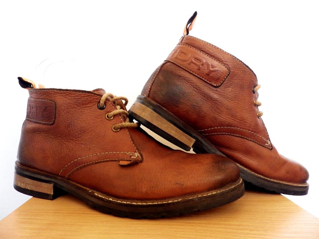 Мужские кожаные ботинки Superdry 100% Оригинал р-р 42 (28 см) (сток, б/у) демисезонные