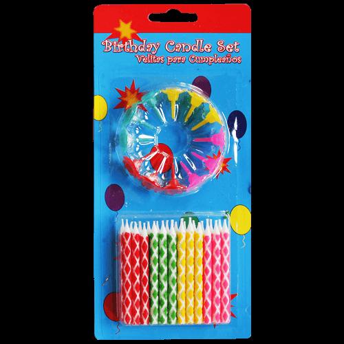 """Свечи в торт с подставками """"разноцветные ромбы"""" 24 шт."""