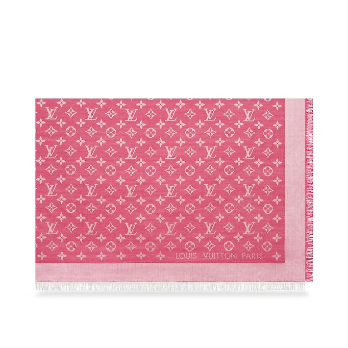 Женский платок Louis Vuitton Monogram (в стиле Луи Витон) розовый, фото 6