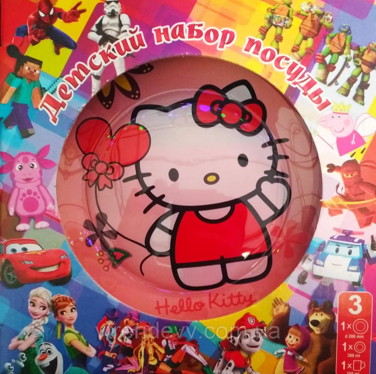 Детский набор посуды из стекла Hello Kitty