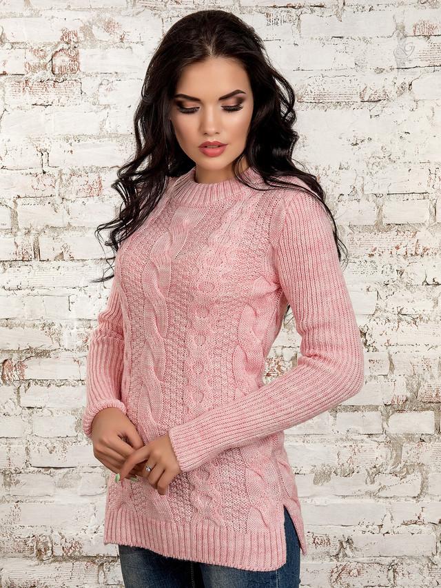 Цвет нежно-розовый Вязаных платьев туник Мика