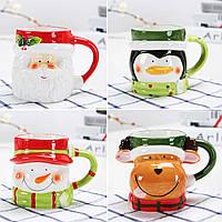 Кружка чашка Санта, Олень, Пингвин, Снеговик (новогодняя чашка)