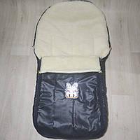 Конверт детский чехол на овчине меху зимний универсальный  в коляску (санки) 4 в 1 темная звезда