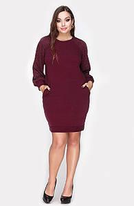 Платье Лоззи трикотажное большой  размер бордо