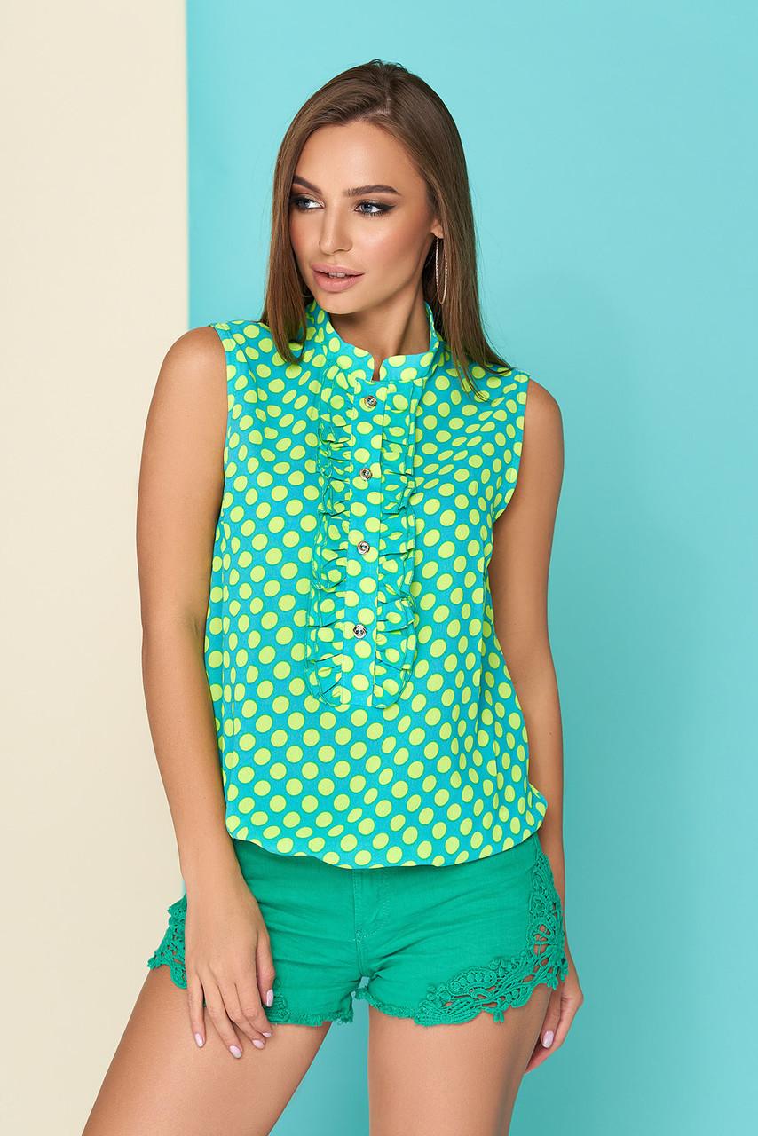 """Легкая летняя блуза """"L 401"""" из креп-шифона короткие рукава (бирюзовый)"""