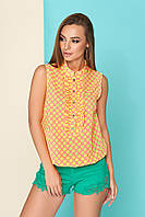 """Легкая летняя блуза """"L 401"""" из креп-шифона короткие рукава(розовый)"""