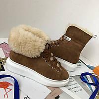 Теплые женские ботиночки ALEXANDER MCQUEEN с овчиной (реплика), фото 1