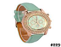 Женские кварцевые наручные часы / годинник Geneva Platinum мятого цвета (229)