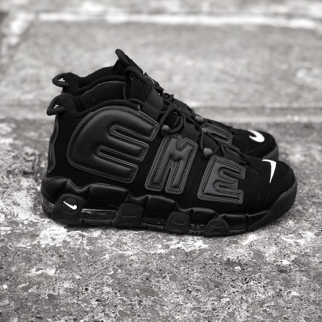 Nike Air More Uptempo x Supreme Black   женские и мужские кроссовки  черные 0759f0e5d37