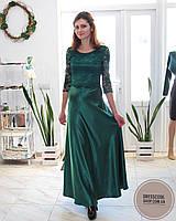 Шикарное зеленое длинное платье с кружевом