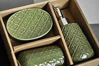 Подарок в коробке набор в ванную из 3х предметов Green Lux, фото 1