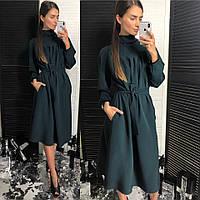 Женское красивое свободное платье с поясом (3 цвета)