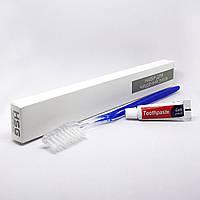 Зубной набор (щетка+паста 5г) в п/е и картонной коробочке, фото 1