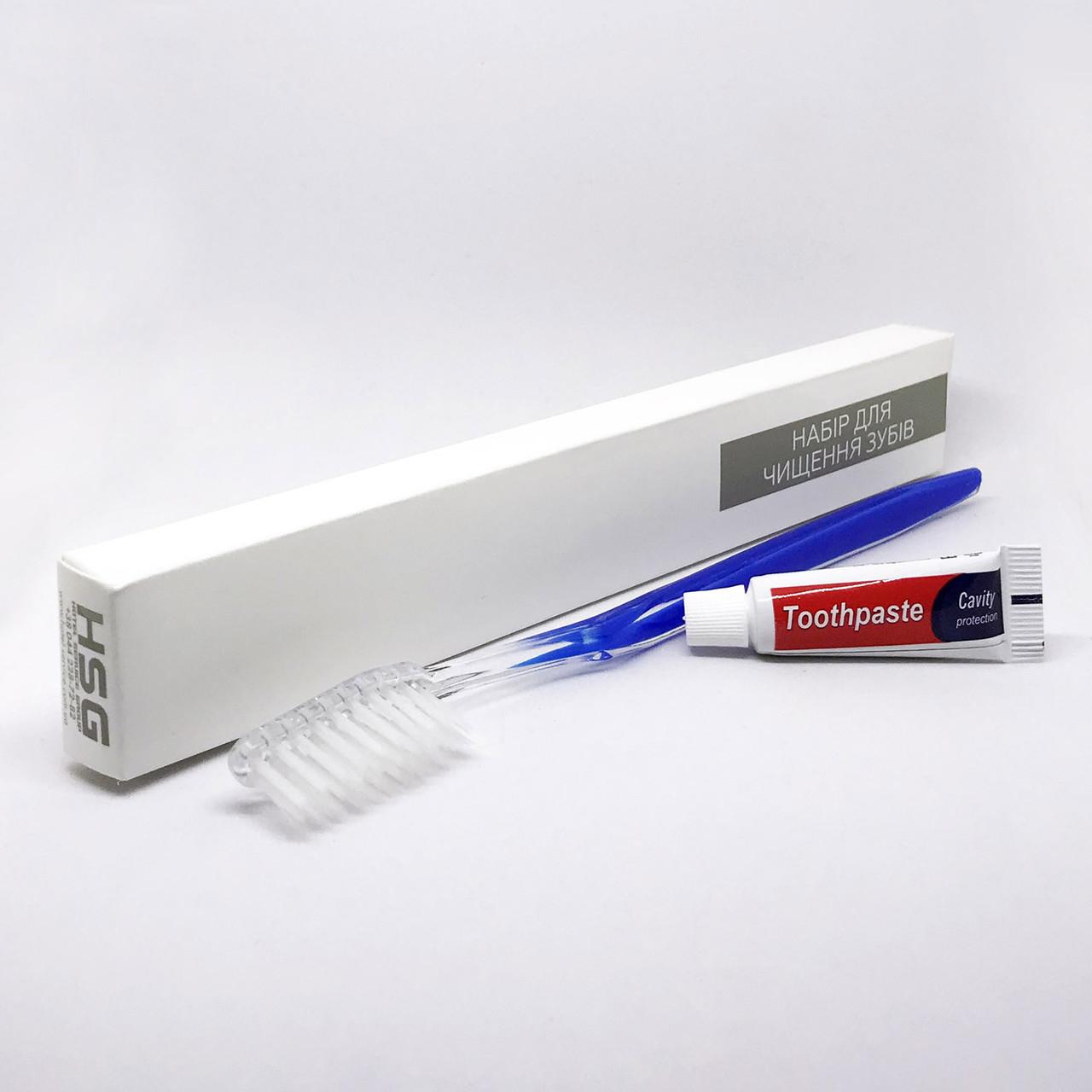 Зубной набор (щетка+паста 5г) в п/е и картонной коробочке