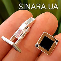 Серебряные запонки с золотом - Мужские запонки серебро - Запонки серебряные квадратные, фото 4