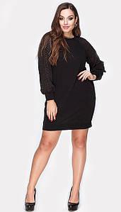 Платье Лоззи трикотажное большой  размер черное