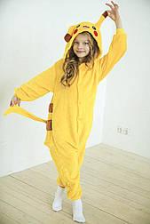 (110, 120, 130, 140 см) Детский кигуруми покемон пикачу желтый v128