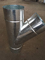 Тройник 45*нерж/оцинк 0,8/0,5 мм,диаметр 220/315мм. дымоход с теплоизоляцией