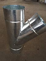 Тройник 45*нерж/оцинк 0,8/0,5 мм,диаметр 250/350мм. дымоход с теплоизоляцией